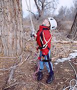 Jack Nawrocki and his fater Tom took a Recreational tree climbing class near Denver, Colorado.