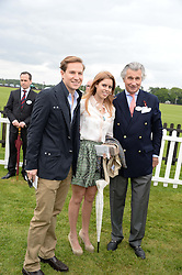 Left to right, DAVE CLARK, HRH PRINCESS BEATRICE OF YORK and ARNAUD BAMBERGER at the 2013 Cartier Queens Cup Polo at Guards Polo Club, Berkshire on 16th June 2013.