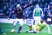 New signing Steven Naismith has a shot at goal during the William Hill Scottish Cup 4th round match between Heart of Midlothian and Hibernian at Tynecastle Stadium, Gorgie, Scotland on 21 January 2018. Photo by Kevin Murray.