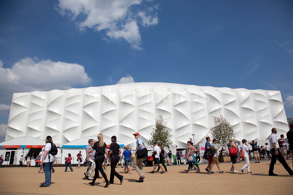 London, UK. Thursday 9th August 2012. London 2012 Olympic Park in Stratford, East London. The Basketball Arena. Affectionately known as 'The Matress' this is an eco building designed to be taken apart and used for other tournaments in other locations.