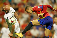 Spain's Rodrigo Moreno (r) and Albania's Arlind Ajeti during FIFA World Cup 2018 Qualifying Round match. October 6,2017.(ALTERPHOTOS/Acero)