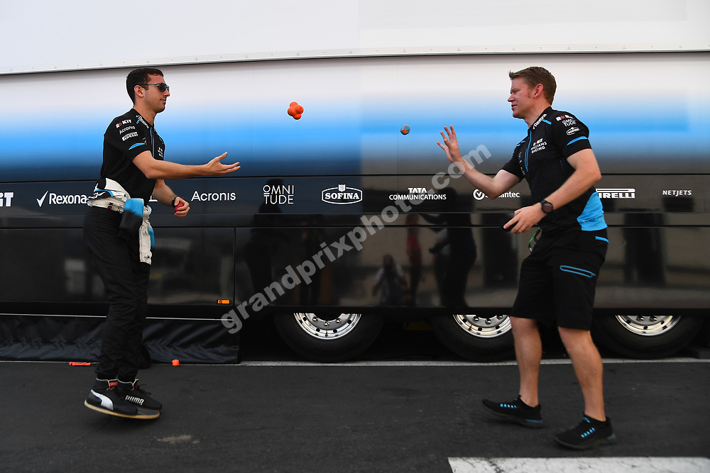 Nicolas Latifi (Williams-Mercedes) preparing for practice by juggling with his trainer before the 2019 French Grand Prix at Paul Ricard. Photo: Grand Prix Photo