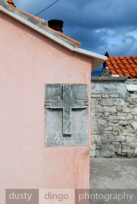 Memorial plaque on side of house, Zrnovo village, island of Korcula, Croatia