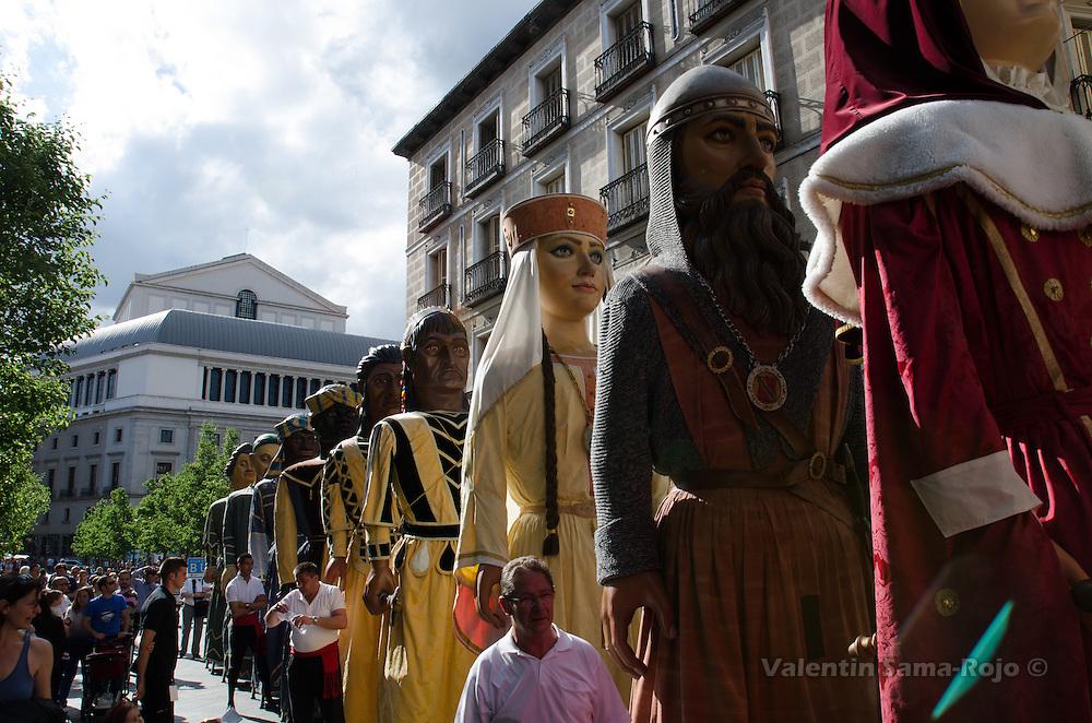 'Gigantones' from Burgos at Mayor street of Madrid during San Isidro 2013 parade.