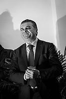 VALLO DELLA LUCANIA (SA) - 4 FEBBRAIO 2018: Franco Alfieri (Partito Democratico), candidato alla Camera dei Deputati nel collegio uninominale di Agropoli (Campania), ex sindaco di Agropoli e capo della segreteria politica del governatore della Regione Campania Vincenzo De Luca, inaugura un suo comitto elettorle in  a Vallo della Lucania (SA) il 4 febbraio 2018.<br /> <br /> Le elezioni politiche italiane del 2018 per il rinnovo dei due rami del Parlamento – il Senato della Repubblica e la Camera dei deputati – si terranno domenica 4 marzo 2018. Si voterà per l'elezione dei 630 deputati e dei 315 senatori elettivi della XVIII legislatura. Il voto sarà regolamentato dalla legge elettorale italiana del 2017, soprannominata Rosatellum bis, che troverà la sua prima applicazione<br /> <br /> ###<br /> <br /> VALLO DELLA LUCANIA, ITALY - 4 FEBRUARY 2018: Franco Alfieri (Democratic Party / Partito Democratico), former mayor of Agropoli chief of staff of the governor of the Campania region Vincenzo De Luca, inaugurates his electoral committee in Vallo della Lucania, Italy, on February 4th 2018.<br /> <br /> The 2018 Italian general election is due to be held on 4 March 2018 after the Italian Parliament was dissolved by President Sergio Mattarella on 28 December 2017.<br /> Voters will elect the 630 members of the Chamber of Deputies and the 315 elective members of the Senate of the Republic for the 18th legislature of the Republic of Italy, since 1948.