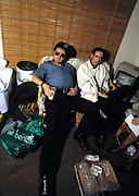 1986 Big Audio Dynamite Medicine Show Video Shoot. Strummer and Paul Simonon