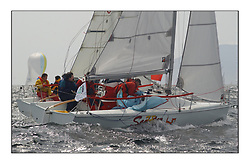 Yachting- The first days inshore racing  of the Bell Lawrie Scottish series 2002 at Tarbert Loch Fyne. Near perfect conditions saw over two hundred yachts compete. <br /> Scooter, Hunter 707, GBR7108, sportboat class<br />Pics Marc Turner / PFM