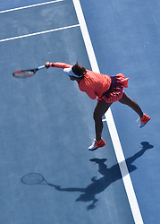 January 7, 2017 - Auckland, Auckland, New Zealand - Lauren Davis of USA serves during her single final match against Ana Konjuh  of Croatia the WTA ASB Classic tennis tournament in Auckland, New Zealand on Jan 7. She claims the champion title after a 6-3 6-1 victory over Ana Konjuh (Credit Image: © Shirley Kwok/Pacific Press via ZUMA Wire)