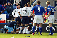Photograph: Scott Heavey.<br />Leicester City v Tottenham Hotspur. 19/10/2003. FA Barclaycard Premiership.<br />Freddie Kanoute lays in agony while the stretcher is brought on