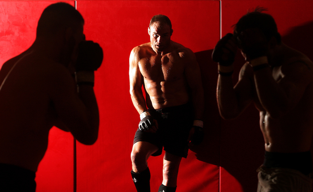 """Randy """"The Natural"""" Couture, the only five-time champion in Ultimate Fighting Championship history, supervises a training session at Team Quest, the fight camp he runs with fellow mixed martial arts hero Matt Lindland."""