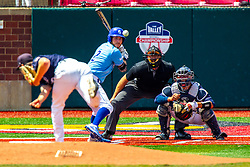 25 May 2019:  Peyton Sherlin pitches, Jarrod Watkins bats, Herbert Iser catches and Bill McGuire makes the calls.  Missouri Valley Conference Baseball Tournament - Dallas Baptist Patriots v Indiana State Sycamores at Duffy Bass Field in Normal IL<br /> <br /> #MVCSPORTS