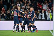 Moussa DIABY (PSG) scored a goal and celebrated it with Juan Bernat (PSG), Edinson Roberto Paulo Cavani Gomez (El Matador) (El Botija) (Florestan) (PSG), Julian Draxler (PSG), Thomas Meunier (PSG), Adrien Rabiot (PSG) during the French Championship Ligue 1 football match between Paris Saint-Germain and AS Saint-Etienne on September 14, 2018 at Parc des Princes stadium in Paris, France - Photo Stephane Allaman / ProSportsImages / DPPI