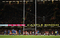 France's Francois Trinh-Duc (centre) misses a penalty during the NatWest 6 Nations match at the Principality Stadium, Cardiff.