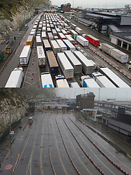 © Licensed to London News Pictures  21/12/2020. Dover, UK. The Port of Dover is closed, Comparison pictures (12.12.2020 queues of Freight lorries) and today (21.12.2020 empty lanes) A major police operation is underway in Kent as Operation Stack is implemented on the M20 due to the Port of Dover and Channel Tunnel having to close in response to France closing its borders to the UK. All freight and passenger traffic have been banned for 48 hours due to the new mutant strain of the Coronavirus in England. traffic. Photo credit:Grant Falvey/LNP