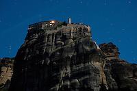 Greece, Meteora, Varlaam Monastery in Moonlight
