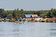 Floatplane operations at the Lake Hood Floatplane base in Anchorage, Alaska. Lake Hood is the worlds busiest float plane base handling over 200 individual flights per day.