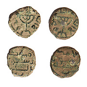 Umayyad coins depicting a Menorah. 10-11Th century CE. On White Background