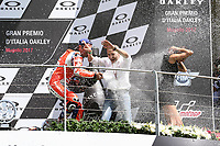 Danilo Petrucci of Italy and OCTO Pramac Racing third during the Moto GP Grand Prix at the Mugello race track on June 4, 2017, and Claudio Dominicali celebrates on the podium.  celebrates on the podium. MotoGP Italy Grand Prix 2017 at Autodromo del Mugello, Florence, Italy on 4th June 2017. <br /> Photo by Danilo D'Auria.<br /> <br /> Danilo D'Auria/UK Sports Pics Ltd/Alterphotos