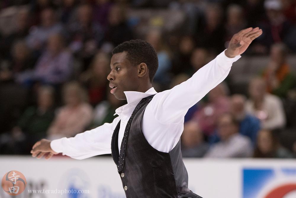 January 4, 2018; San Jose, CA, USA; Emmanuel Savary performs in the men's short program during the 2018 U.S. Figure Skating Championships at SAP Center.