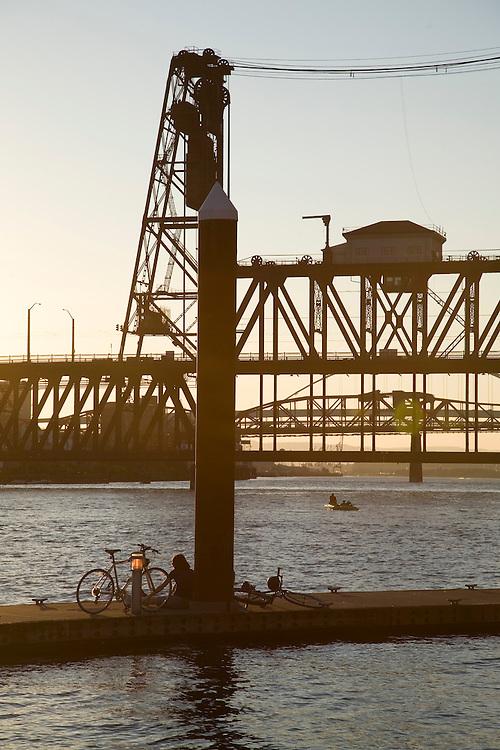 View of the Steel Bridge on the Willamette River in Portland Oregon