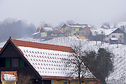 Easter in Southern Styria, Austria. Kitzeck in the snow. Vineyards.