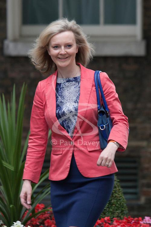 Downing Street, London July 15th 2014. New Environmental secretary Liz Truss arrives at 10 Downing Street
