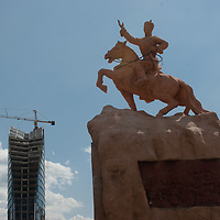 Sukhbaatar Square, named for Damdin Sukhbaatar, who liberated Mongolia from China in 1922, dominates  central Ulaanbaatar, Mongolia.