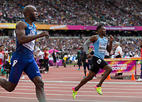 Athletics - 2017 IAAF London World Athletics Championships - Day Two (AM Session)<br /> <br /> Event: Mens 400m Heat 5<br /> <br /> Isaac Makwala (BOT) rounds the bend in the last 200m as LaShawn Merritt (USA) looks across at him <br /> <br /> COLORSPORT/DANIEL BEARHAM