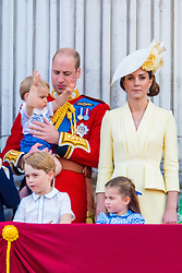 English Royals during Trooping the Colour ceremony, marking the monarch's official birthday, in London. 08 Jun 2019 Pictured: Camilla Duchess of Cornwall, Catherine Duchess of Cambridge, Kate Middleton, Prince Harry Duke of Sussex, Meghan Markle Duchess of Sussex, Princess Beatrice of York, Princess Eugenie of York and husband Jack Brooksbank, Prince Charles of Wales, Prince William Duke of Cambridge, Queen Elizabeth II. Photo credit: MEGA TheMegaAgency.com +1 888 505 6342