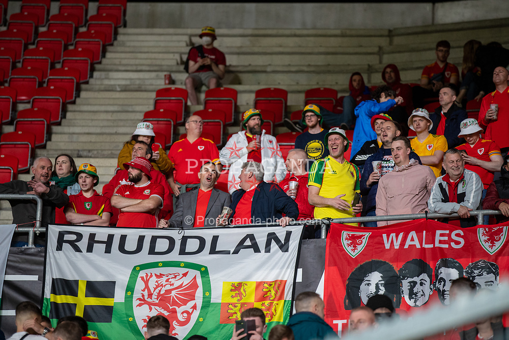 PRAGUE, CZECH REPUBLIC - Friday, October 8, 2021: Wales supporters during the FIFA World Cup Qatar 2022 Qualifying Group E match between Czech Republic and Wales at the Sinobo Stadium. The game ended in a 2-2 draw. (Pic by David Rawcliffe/Propaganda)