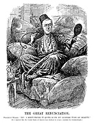 """The Great Renunciation. President Wilson. """"No! I don't think it quite suits my austere type of beauty."""" [It is reported that the United States of America have declined to accept a mandate for Constantinople.] (Wilson looks at himself in a hand mirror while reclining on cushions and smoking a water pipe dressed as a Sultan after WW1)"""
