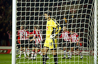 Photograph: Scott Heavey.<br />Southampton v Portsmouth City. Carling Cup.<br />02/12/2003.<br />Pavel Srnicek is helpless after conceding the first goal of the night