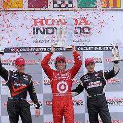 8 August, 2010; The top three finishers of the Izod IndyCar Series Honda Indy 200 at the Mid-Ohio Sports Car Course in Lexington, Ohio; from left second place Team Penske's WILL POWER, winner Target Chip Ganassi Racing's DARIO FRANCHITTI, and third place Team Penske's HELIO CASTRONEVES..Mandatory Credit: Will Schneekloth / Southcreek Global