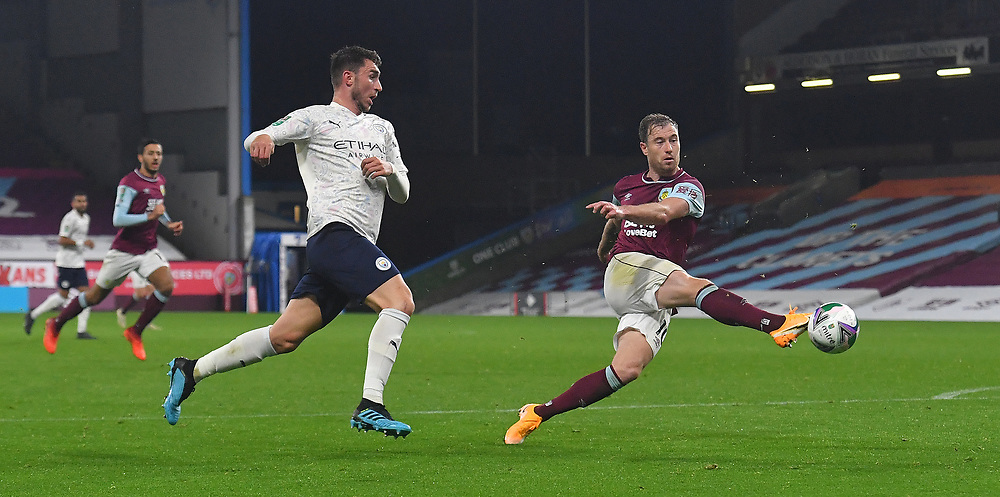 Burnley's Ashley Barnes fires in a shot<br /> <br /> Photographer Dave Howarth/CameraSport<br /> <br /> Carabao Cup Fourth Round - Burnley v Manchester City - Wednesday 30th September 2020 - Turf Moor - Burnley<br />  <br /> World Copyright © 2020 CameraSport. All rights reserved. 43 Linden Ave. Countesthorpe. Leicester. England. LE8 5PG - Tel: +44 (0) 116 277 4147 - admin@camerasport.com - www.camerasport.com