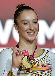 DOHA, Nov. 3, 2018  Nina Derwael of Belgium poses with her gold medal during the awarding ceremony of women's uneven bars final at the 2018 FIG Artistic Gymnastics World Championships in Doha, capital of Qatar, Nov. 2, 2018. (Credit Image: © Yangyuanyong/Xinhua via ZUMA Wire)
