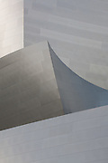 Detail of the abstract forms of the stainless steel panels that make up the facade of Walt Disney Concert Hall, Los Angeles