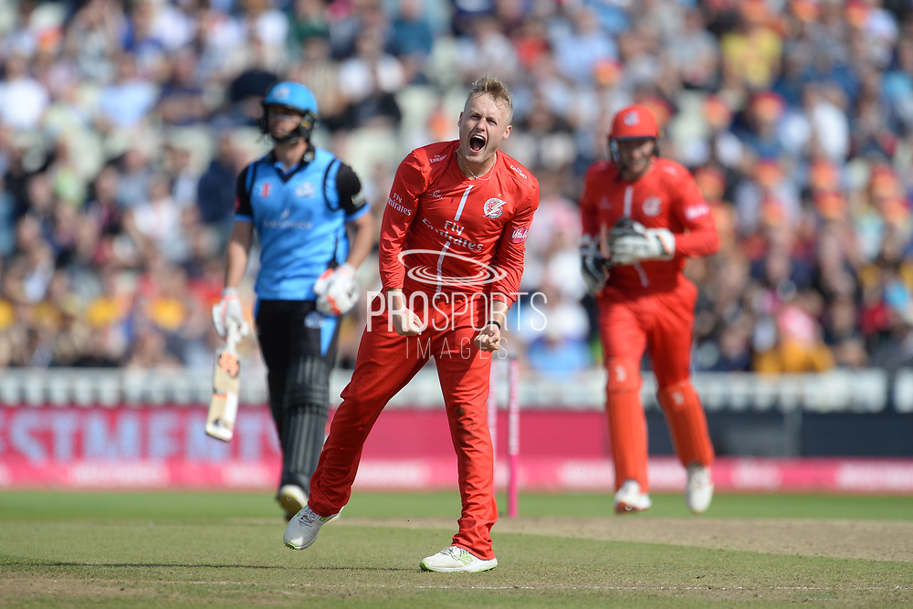 Matt Parkinson of Lancashire Lightning celebrates the wicket of Ross Whiteley during the Vitality T20 Finals Day Semi Final 2018 match between Worcestershire Rapids and Lancashire Lightning at Edgbaston, Birmingham, United Kingdom on 15 September 2018.