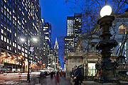 The Chrysler Building and New York Public Library are located in this stretch of 42nd street in Manhattan at Bryant Park.