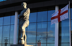 The Bobby Moore statue outside Wembley Stadium prior to the 2018 FIFA World Cup Qualifying, Group F match at Wembley Stadium, London. PRESS ASSOCIATION Photo. Picture date: Thursday October 5, 2017. See PA story SOCCER England. Photo credit should read: Adam Davy/PA Wire. RESTRICTIONS: Use subject to FA restrictions. Editorial use only. Commercial use only with prior written consent of the FA. No editing except cropping.