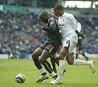 Photo: Aidan Ellis.<br /> Bolton Wanderers v Sunderland. The Barclays Premiership. 18/03/2006.<br /> Bolton's Ricardo Vaz te pressureises Sunderland's Nyron Nosworthy