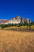 Tallgrass and fall color under Appikuni Peak, Many Glacier area, Glacier National Park, Montana