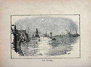 The Thames [River, England] from The merchant vessel : a sailor boy's voyages to see the world [around the world] by Nordhoff, Charles, 1830-1901 engraved by C. LaPlante; some illustrations by W.L. Wyllie Publisher New York : Dodd, Mead & Co. 1884