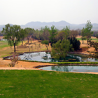 Asia, China, Beijing. The Beijing International Golf Course, as green as it gets in Beijing!