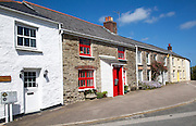 Attractive cottages in village of St Just in Roseland, Cornwall, England, UK