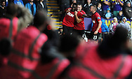Man Utd's Danny Welbeck celebrates with teammate Phil Jones after he scores his sides 4th goal . Barclays Premier league, Swansea city v Manchester Utd in Swansea, South Wales on Saturday 17th August 2013. pic by Andrew Orchard ,Andrew Orchard sports photography,