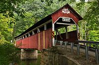 Lower Humbert Covered Bridge. Spanning Laurel Hill Creek. Laurel Highlands Pennsylvania