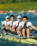 Munich, GERMANY, GBR M4X . Bow, Simon FIELDHOUSE, Sam TOWNSHEAD, Alex GREGORY and Bill LUCUS,  At the start, during the FISA World Cup at the Munich Olympic Rowing Course, Thur's.  08.05.2008  [Mandatory Credit Peter Spurrier/ Intersport Images] Rowing Course, Olympic Regatta Rowing Course, Munich, GERMANY