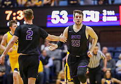 Mar 20, 2019; Morgantown, WV, USA; Grand Canyon Antelopes center Alessandro Lever (25) celebrates with Grand Canyon Antelopes guard Trey Drechsel (2) during the second half against the West Virginia Mountaineers at WVU Coliseum. Mandatory Credit: Ben Queen