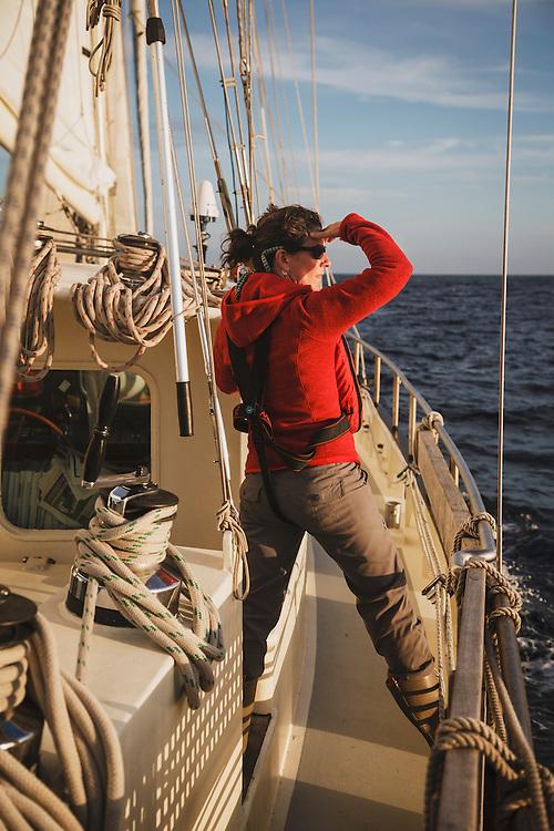 Jacki Arevalo sails toward the Cies Islands of Spain on the Anne Margaretha.