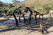 Metal sculpture botanical gardens at Rodalquilar, Cabo de Gata natural park, Almeria, Spain